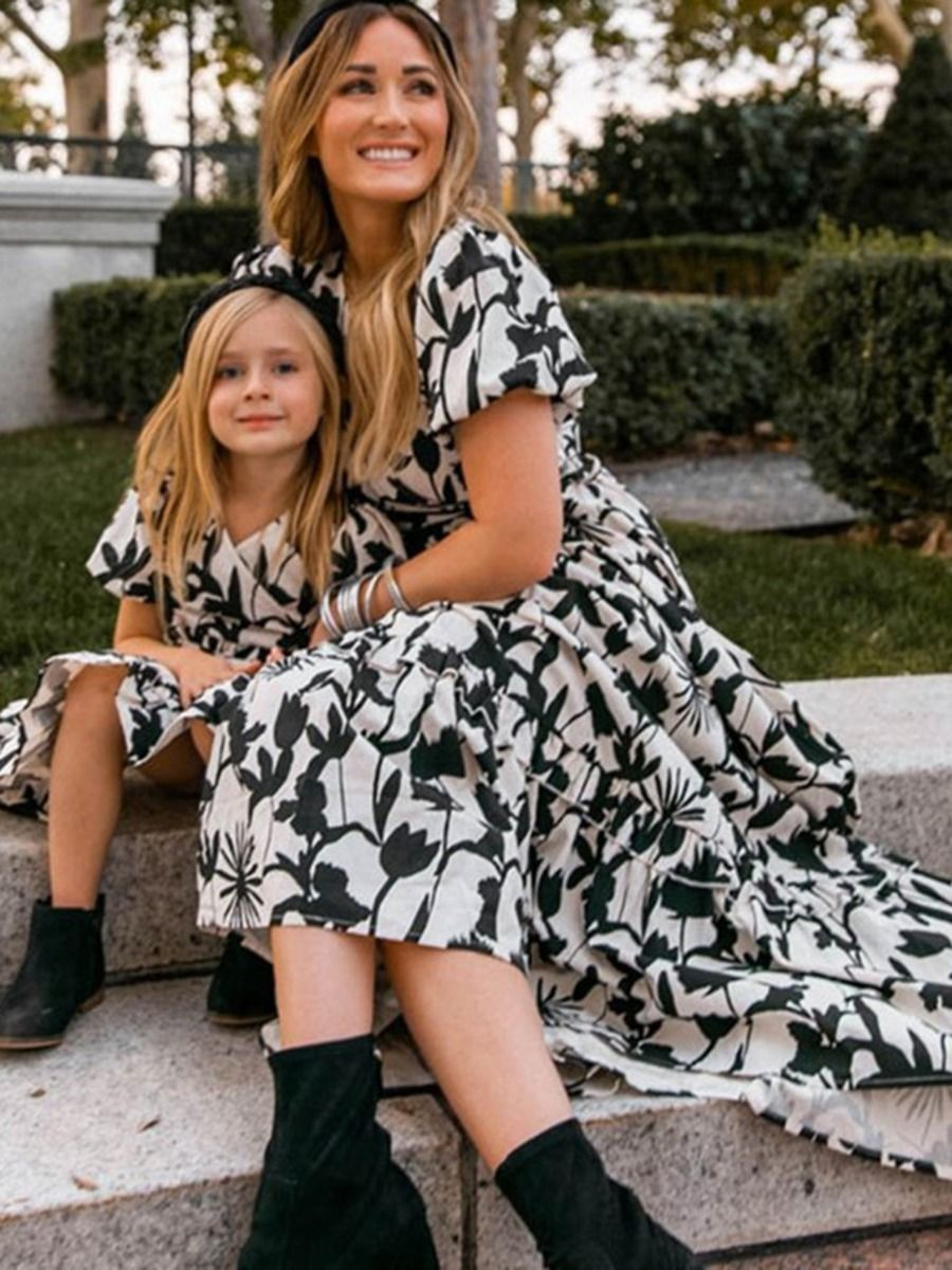 Mommy And Daughter Floral Print Black Dress Dresses 2021-09-01