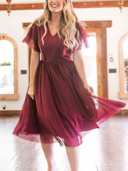 Mommy And Me A Line Mesh Dress Wholesale Dresses 2021-09-01