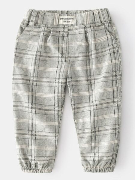 Checked Print Casual Kid Boys Trousers Wholesale Boy Clothes  Wholesale BOYS 2021-09-15