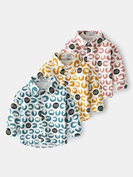 Letter Cartoon Long-sleeve Kid Boy Shirts Wholesale Boy Boutique Clothes  Wholesale BOYS 2021-09-15