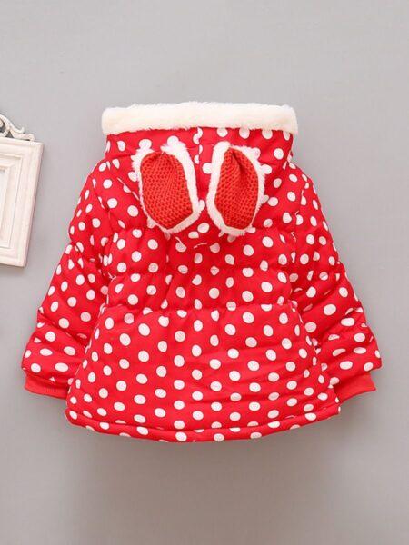 Polka Dots Rabbit Ears Hooded Coat with Bib Wholesale Little Girl Clothing  Wholesale COATS & JACKETS 2021-09-15