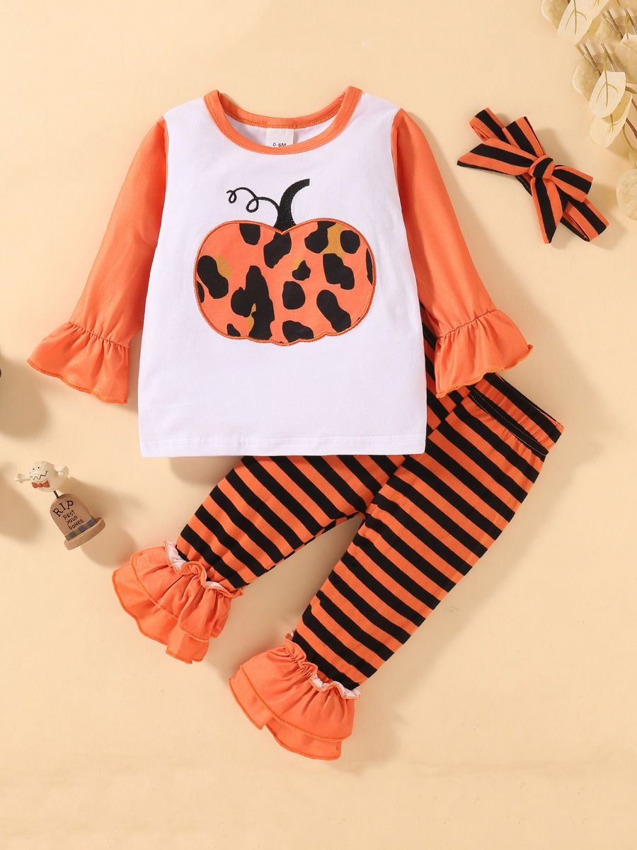 Pumpkin Print Top & Striped Flared Pants Halloween Wholesale Baby Clothes Sets  Wholesale