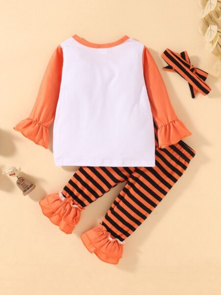 Pumpkin Print Top & Striped Flared Pants Halloween Wholesale Baby Clothes Sets  Wholesale 2