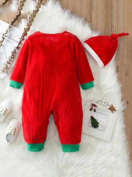MY FIRST CHRISTMAS Snowman Print Corduroy Baby Jumpsuit With Hat  Wholesale 2