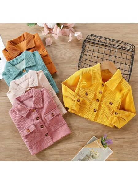 Pocket Decor Lapel Solid Color Kid Girls Coats And Jackets Wholesale Girls Clothes  Wholesale 2