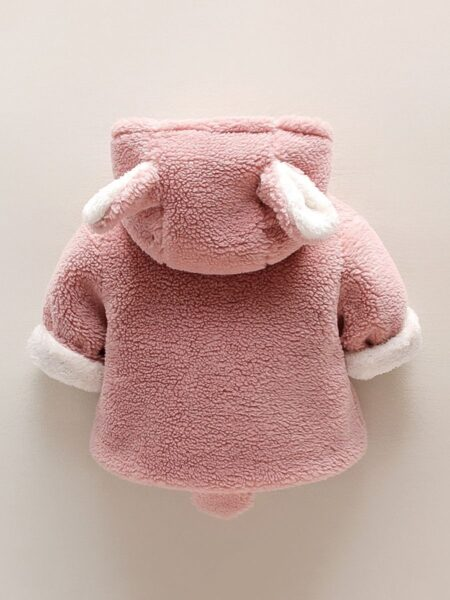Solid Color Cute Ears Fleece Hooded Coat Kids Clothing Wholesale  Wholesale COATS & JACKETS 2021-09-15