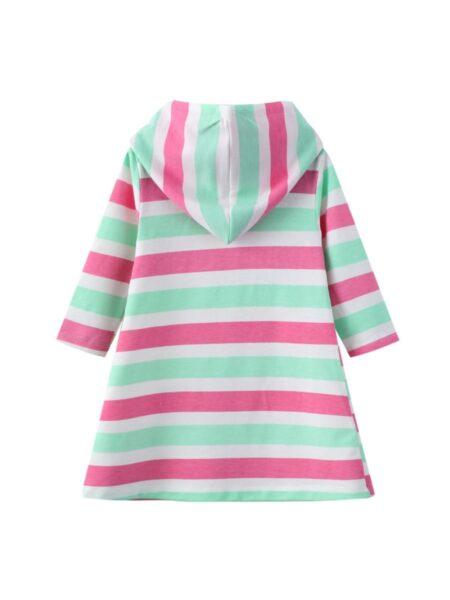 Unicorn Color Blocking Striped Hooded Dresses For Girl  Wholesale DRESSES 2021-09-04