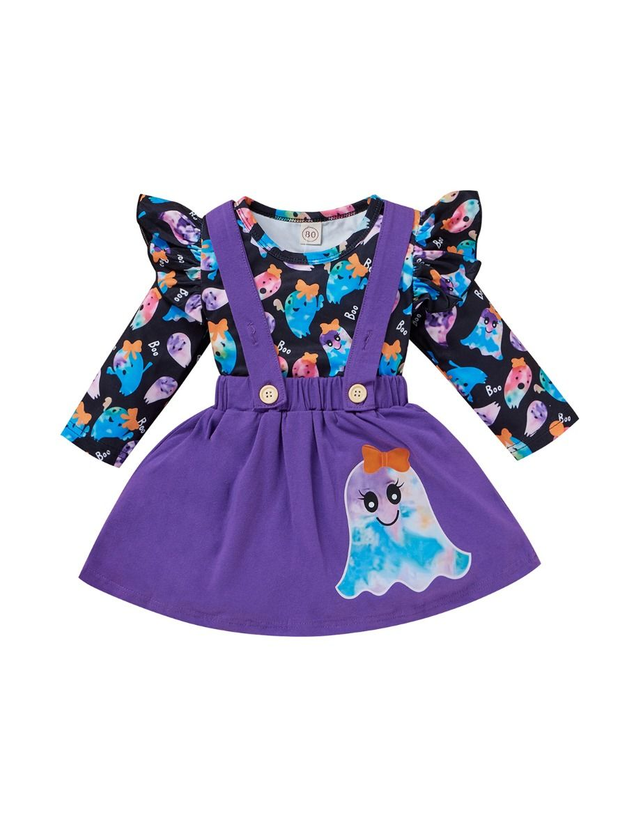 Two Pieces Ghost Print Halloween Toddler Girl Set Top With Suspender Skirt 6-24Months, 1-5Years Cotton Blend, Spring Autumn, Wholesale