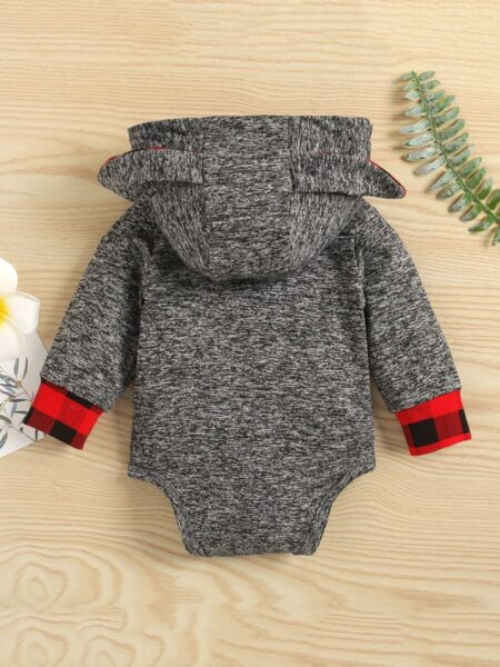 Baby Checked Ears Hooded Bodysuit Wholesale Baby Clothing  Wholesale BABIES 2021-09-14