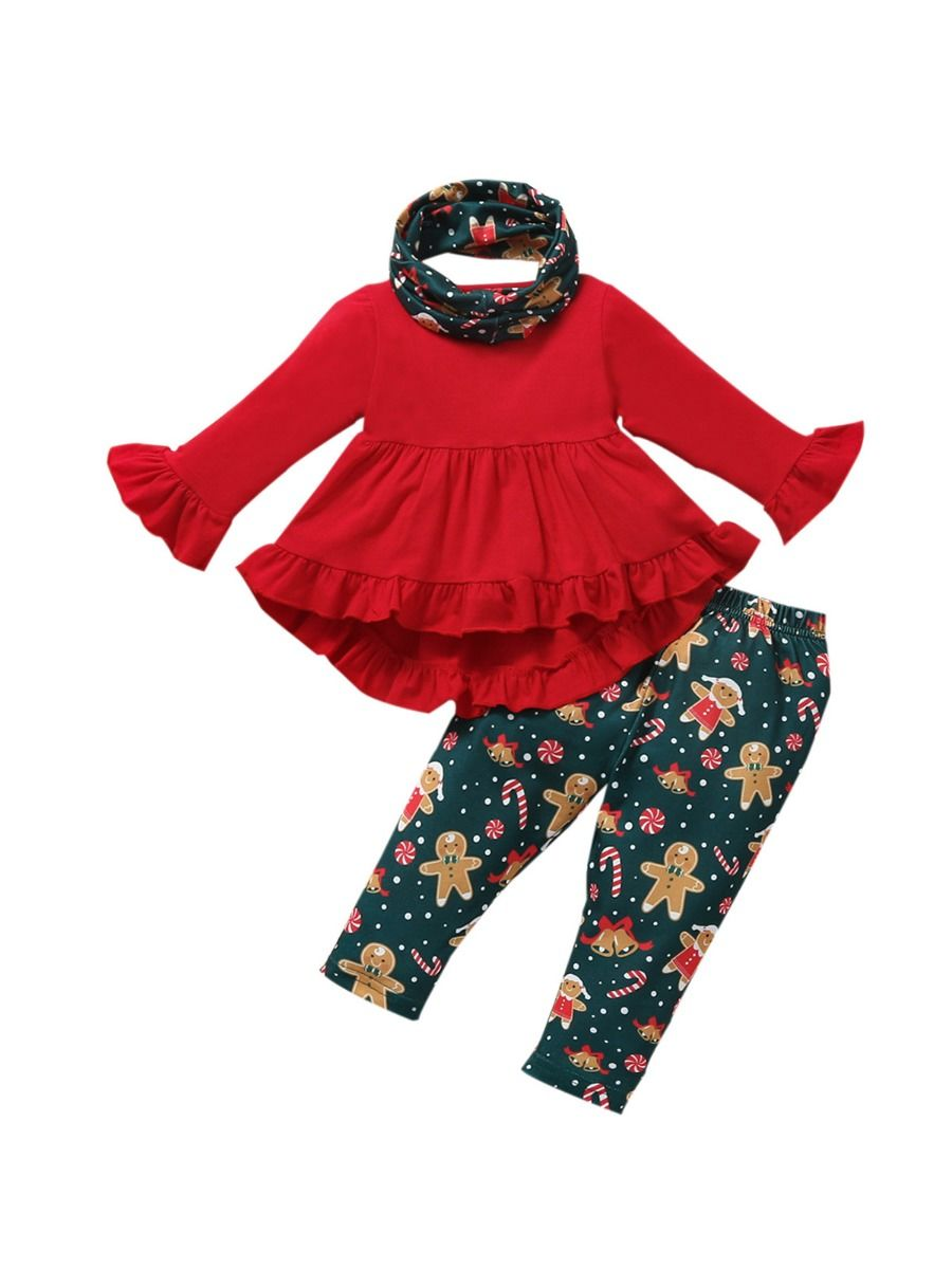 Christmas Print Ruffle Hi Lo Hem Top And Pants With Headband Cute Toddler Girl Clothes Wholesale  Wholesale