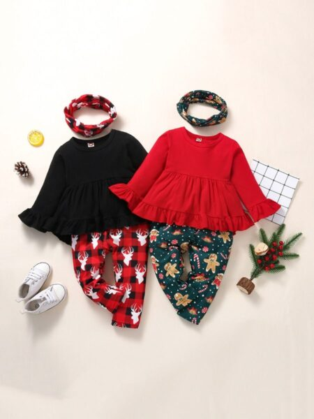 Christmas Print Ruffle Hi Lo Hem Top And Pants With Headband Cute Toddler Girl Clothes Wholesale  Wholesale 2