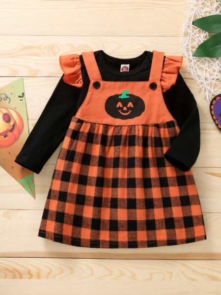 Baby Girl Outfits Sets Bodysuit And Checked Pumpkin Suspender Skirt Wholesale Baby Clothes  Wholesale BABIES 2021-09-03