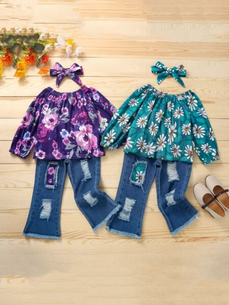 Flower Printed Top And Ripped Jeans Kid Girl Outfits Sets Wholesale Girl Clothes  Wholesale GIRLS 2021-09-03