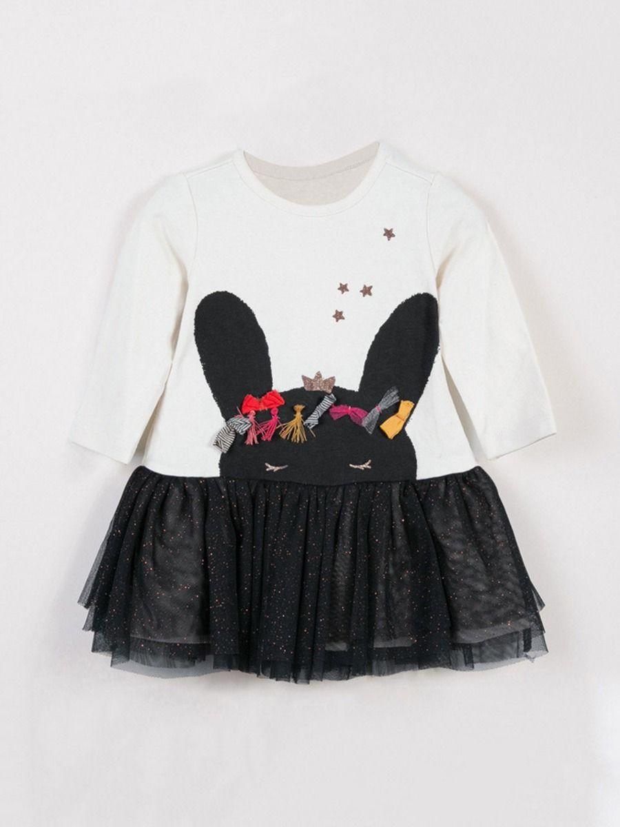 Bunny Star Mesh Kid Girl Dress Wholesale Girls Clothes  Wholesale DRESSES 2021-09-04