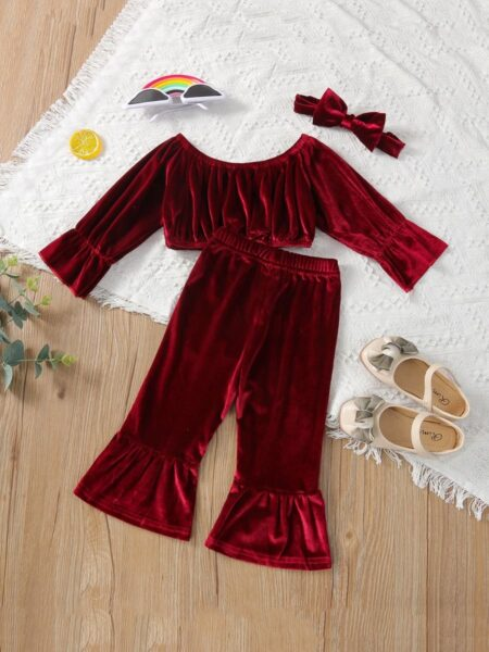 Solid Color Velvet Off Shoulder Crop Top And Bell Bottom Pants Baby Girls Outfits Sets Wholesale Baby Clothes  Wholesale BABIES 2021-09-03