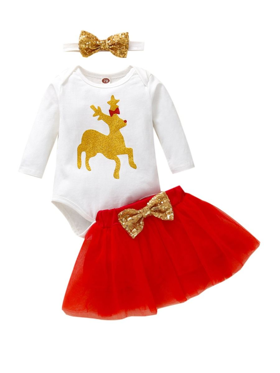 3 Pieces Xmas Baby Girls Sets Bodysuit & Mesh Skirt & Headband  Wholesale BABIES 2021-09-01