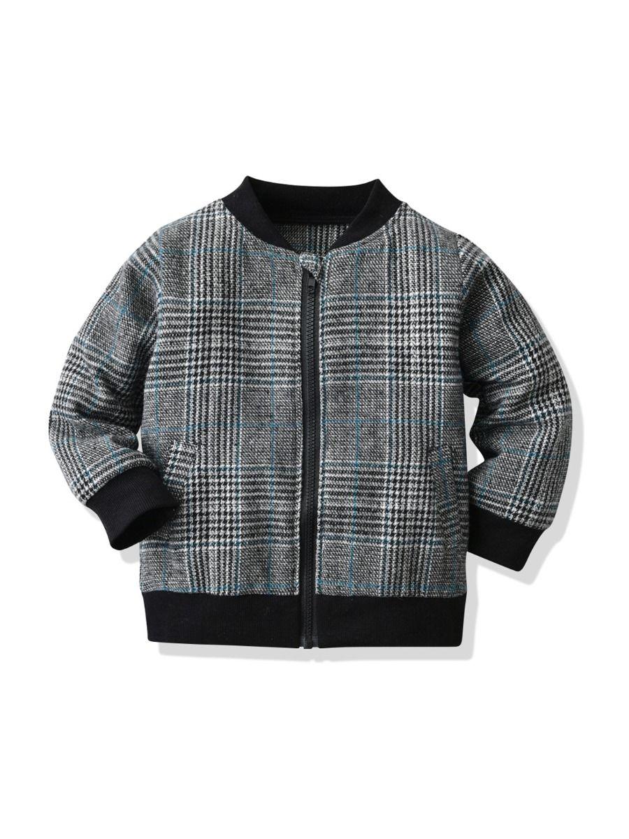 Houndstooth Zipper Kid Boy Coat Wholesale Boys Clothes Wholesale BOYS 2021-09-07