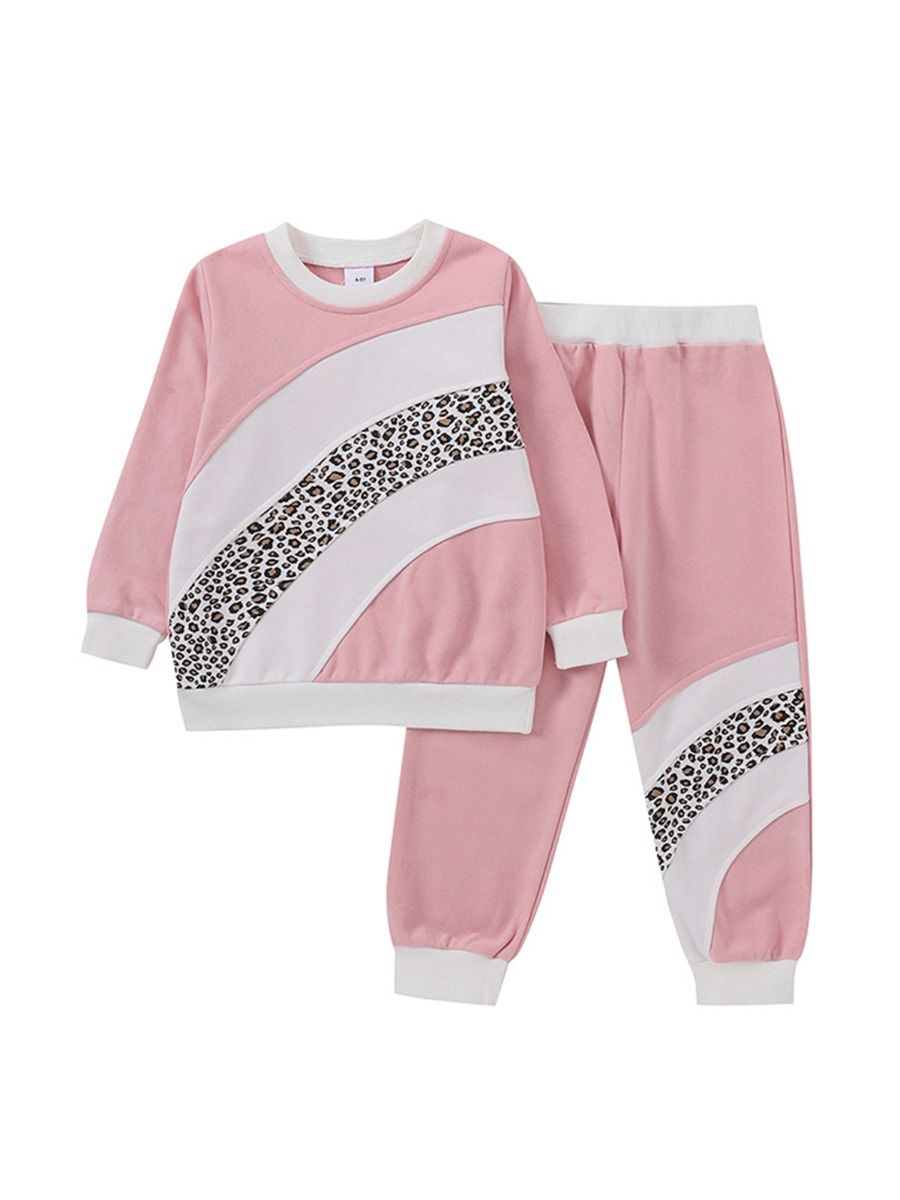 Leopard Print Hit Color Big Kid Girl Clothes Sets Top And Pants  Wholesale Girls