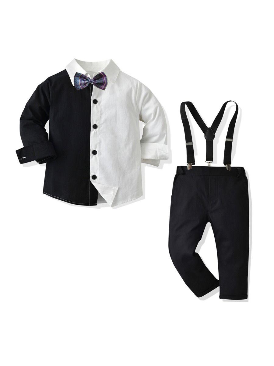Color Blocking Shirt Kid Boys Suit Sets Wholesale Boy Clothes  Wholesale 2