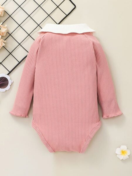 Ribbed Peter Pan Collar Baby Girl Bodysuit Wholesale Baby Clothes  Wholesale BABIES 2021-09-11