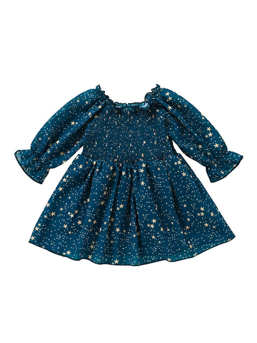 Star Print Off Shoulder Dresses For Girl Wholesale Baby Clothing  Wholesale BABIES 2021-09-11