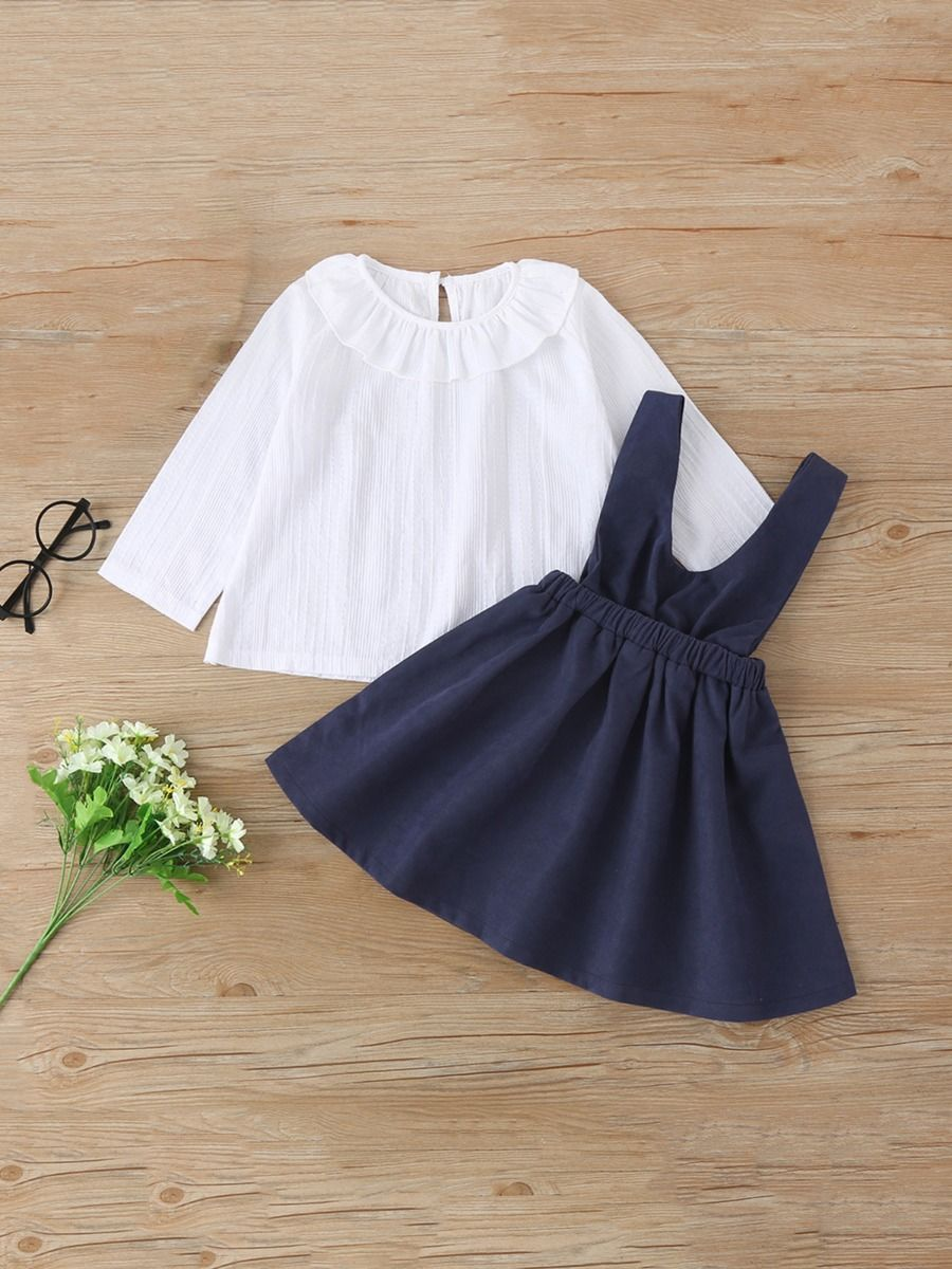 Kid Girls Sets Ruffle Collar Top With Suspender Skirt  Wholesale GIRLS 2021-09-01