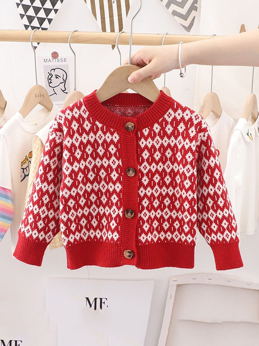 Jacquard Knit Cardigan Wholesale Little Girl Clothing  Wholesale BABIES 2021-09-14