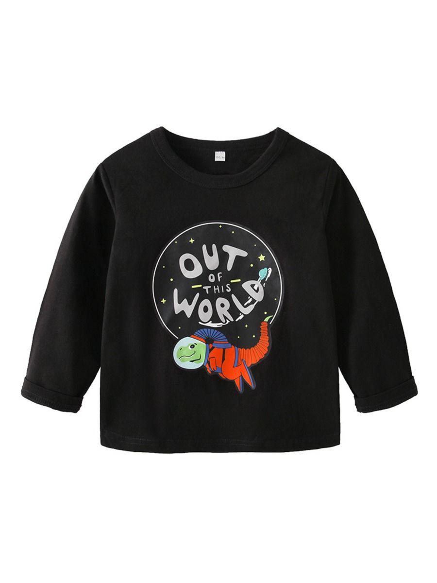 Out Of This World Alien Dinosaur Print Kid Boy Top Wholesale Boy Clothes Wholesale BOYS 2021-09-11