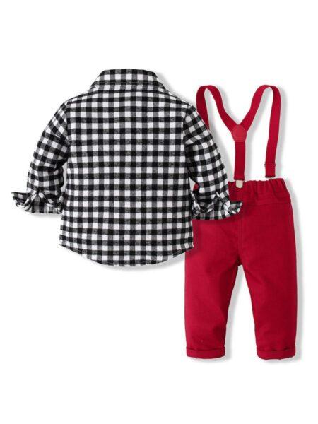 Checked Bowtie Shirt Toddler Boys Suit Sets Wholesale Boy Clothing  Wholesale BABIES 2021-09-15