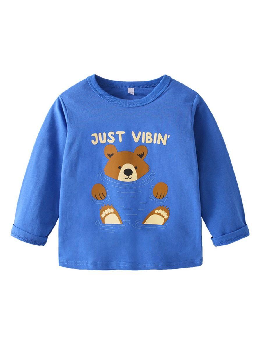 Just Vibin Bear Printed Kid Boy Top Wholesale Boy Boutique Clothes  Wholesale BOYS 2021-09-11