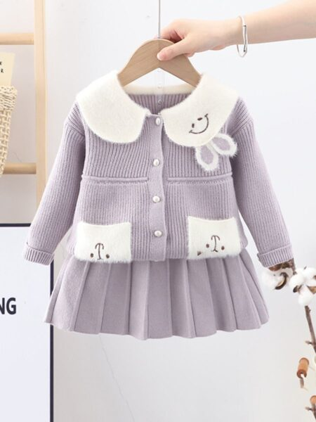 Rabbit Peter Pan Collar Knit Cardigan And Skirt Wholesale Little Girl Clothing Sets  Wholesale BABIES 2021-09-14