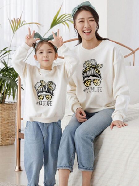 Momlife Kidlife Leopard Print Mom And Me Sweatshirt  Wholesale Family Matching FAMILY MATCHING 2021-09-06