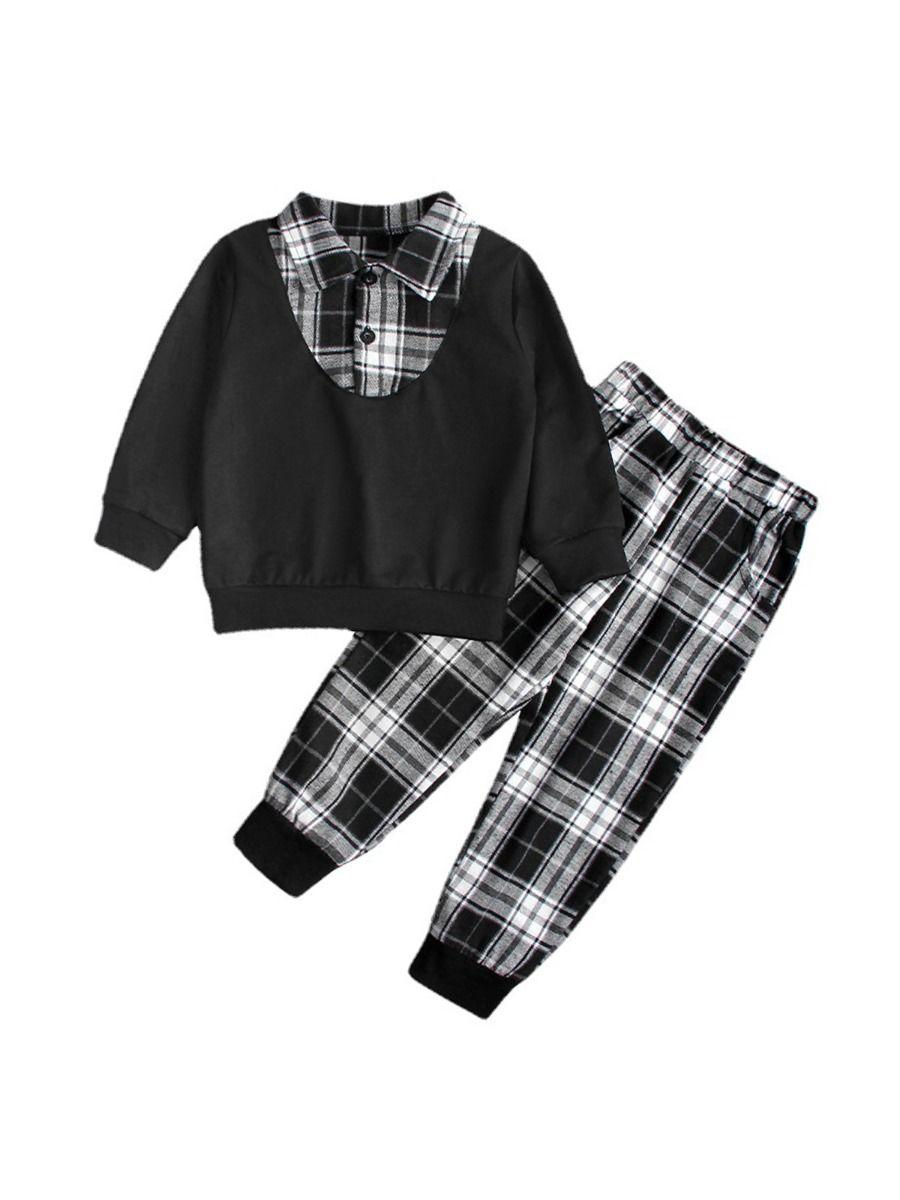 Kid Boy Schoolwear Checked Print Shirt & Pants Wholesale Boy Clothing  Wholesale BOYS 2021-09-09