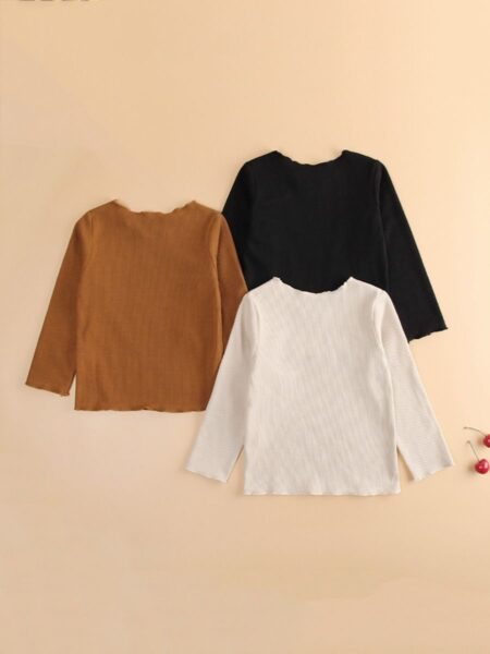 3 Pieces Solid Color Long-sleeve Kid Girl Top Wholesale Girls Clothes  Wholesale GIRLS 2021-09-09