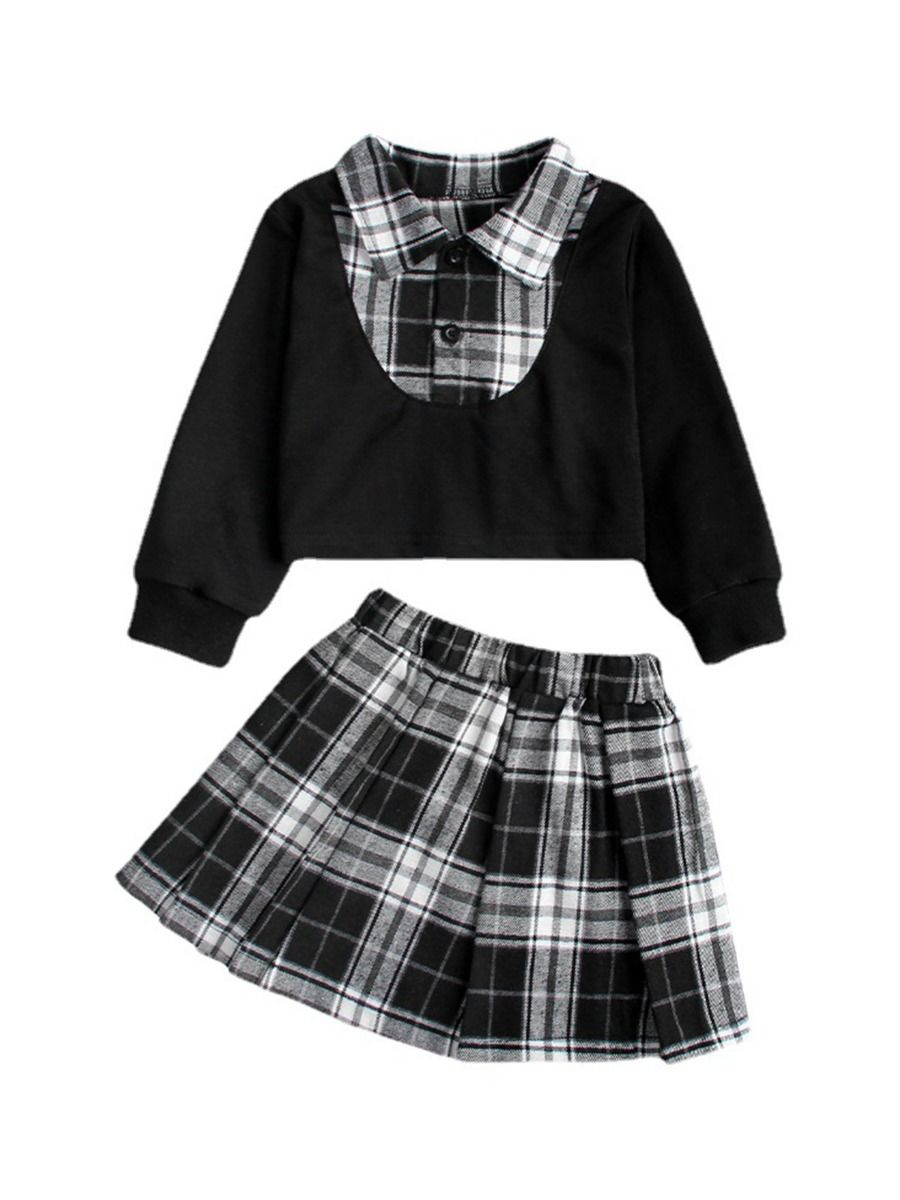 Kid Girls School Wear Checked Print Shirt & Skirt Wholesale Girls Clothes Wholesale GIRLS 2021-09-09