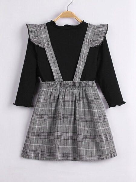 Plain Top Ad Ruffle Trim Checked Suspender Skirt Kid Girls Sets Fashion Girl Wholesale  Wholesale DRESSES 2021-09-09