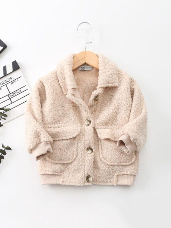 Solid Color Fleece Pocket Decor Kid Jackets Wholesale Kids Clothing Wholesale 11