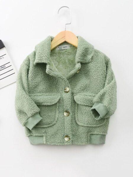 Solid Color Fleece Pocket Decor Kid Jackets Wholesale Kids Clothing Wholesale 2