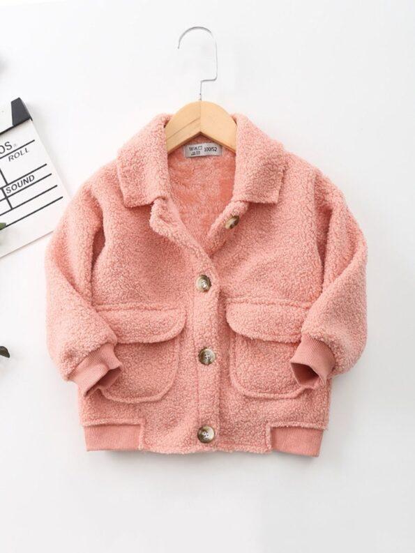 Solid Color Fleece Pocket Decor Kid Jackets Wholesale Kids Clothing Wholesale 12