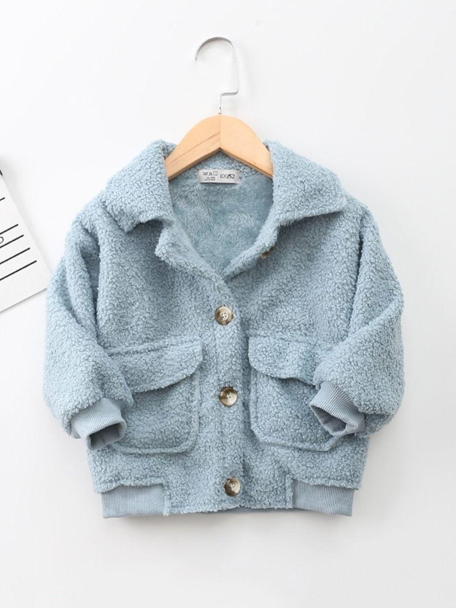 Solid Color Fleece Pocket Decor Kid Jackets Wholesale Kids Clothing Wholesale