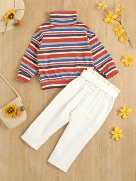 High Neck Striped Top And Belt Trousers Kid Girls Sets Wholesale Girls Fashion Clothes Wholesale GIRLS 2021-09-08