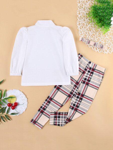 Lantern Long Sleeve Bowtie Shirt & Plaid Pants & Headband Kid Girls Sets Fashion Girl Wholesale  Wholesale GIRLS 2021-09-09