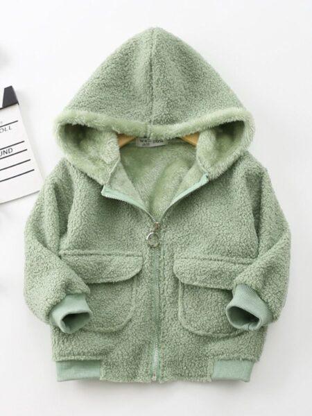 Kids Solid Color Fleece Zip Up Hooded Jacket Wholesale Kids Clothing  Wholesale 2