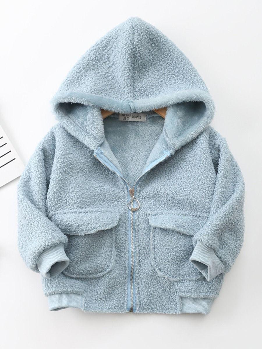 Kids Solid Color Fleece Zip Up Hooded Jacket Wholesale Kids Clothing  Wholesale
