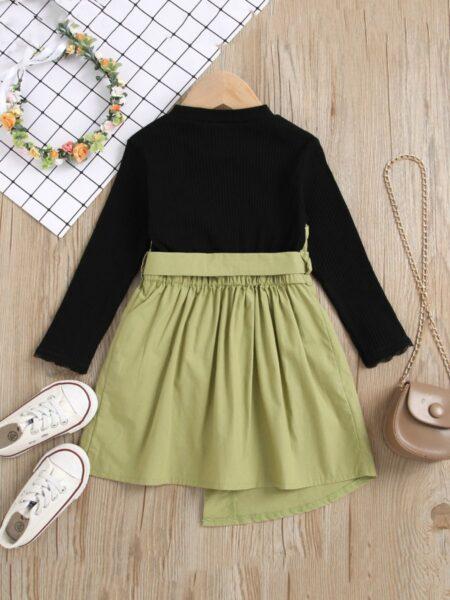 Hit Color Irregular Splice Dresses For Girl  Wholesale DRESSES 2021-09-08
