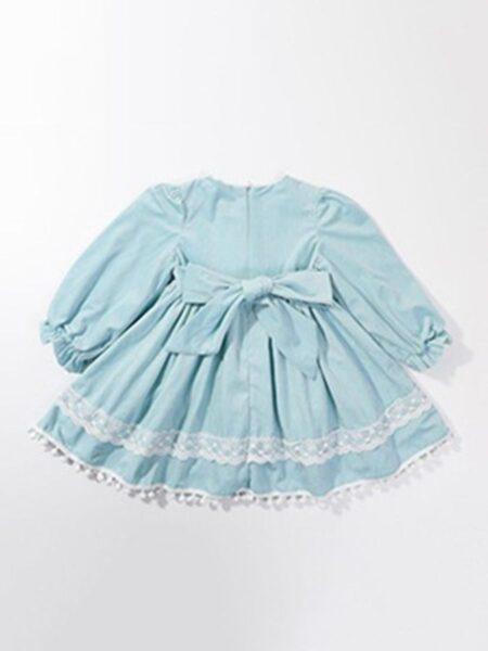 Pom Pom Trim Hem Bowknot Dresses For Girl With Hat Wholesale Girls Clothes Wholesale BABIES 2021-09-15