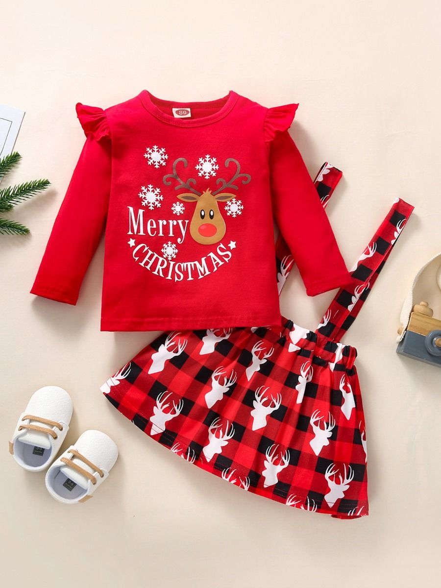 Merry Christmas Top & Plaid Elk Suspender Skirt Wholesale Little Girl Clothing Sets  Wholesale