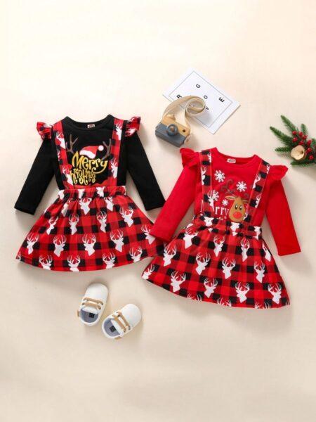 Merry Christmas Top & Plaid Elk Suspender Skirt Wholesale Little Girl Clothing Sets  Wholesale 2