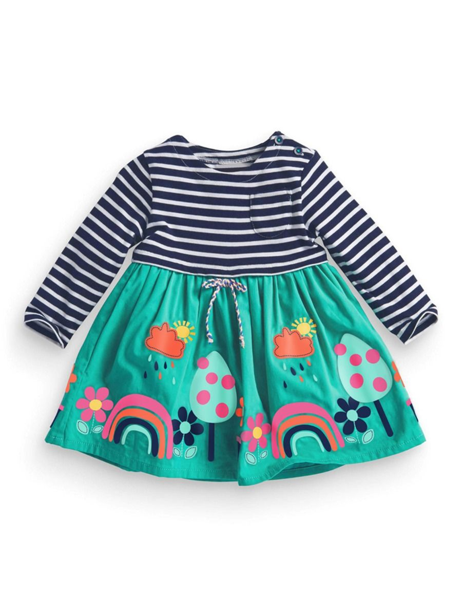 Striped Rainbow Print Dresses For Girl  Wholesale 2