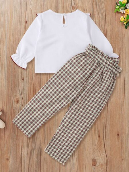 Ruffle Trim Top And Plaid Trousers Kid Girls Outfits Sets Wholesale Girls Fashion Clothes  Wholesale GIRLS 2021-09-10